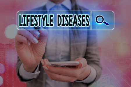 Writing note showing Lifestyle Diseases. Business concept for a disease associated with the way an individual lives Web search digital information futuristic technology network connection