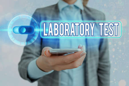 Text sign showing Laboratory Test. Business photo showcasing Determination of a medical diagnosis from the substances tested Graphics padlock for web data information security application system