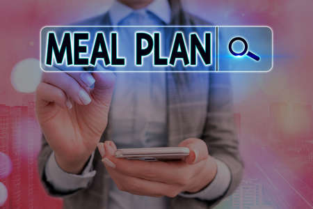 Writing note showing Meal Plan. Business concept for act of taking time to plan any number of meals for the week Web search digital information futuristic technology network connection