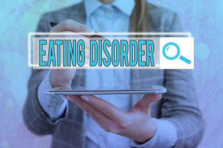Text sign showing Eating Disorder. Business photo showcasing illnesses or severe disturbances in their eating behaviors Web search digital information futuristic technology network connection 免版税图像