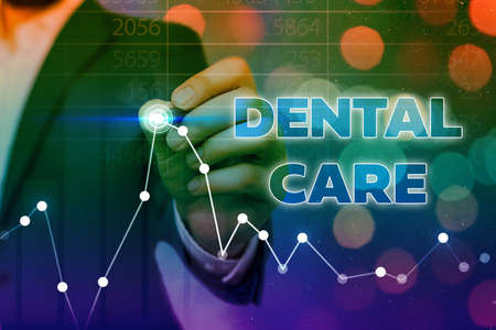 Conceptual hand writing showing Dental Care. Concept meaning maintenance of healthy teeth or to keep it clean for future Arrow symbol going upward showing significant achievement Stock fotó