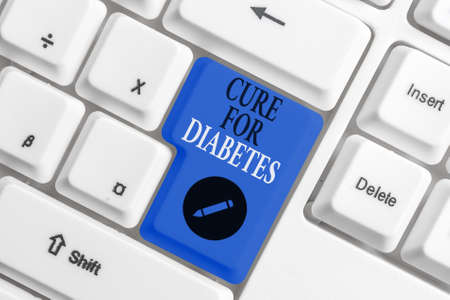 Handwriting text writing Cure For Diabetes. Conceptual photo looking for medication through insulindependent Different colored keyboard key with accessories arranged on empty copy space Stock Photo
