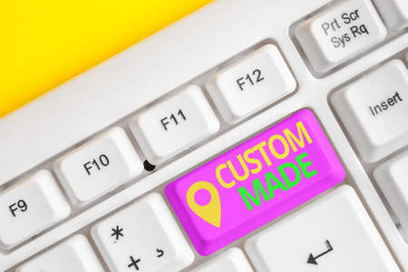 Handwriting text writing Custom Made. Conceptual photo something is done to order for particular customer organization Different colored keyboard key with accessories arranged on empty copy space