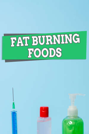 Word writing text Fat Burning Foods. Business photo showcasing produce fat loss by stimulating metabolism to reduce appetite Primary medical precautionary equipments for health care protection