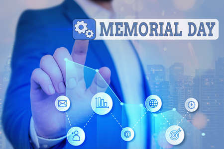 Word writing text Memorial Day. Business photo showcasing To honor and remembering those who died in military service Arrow symbol going upward denoting points showing significant achievement