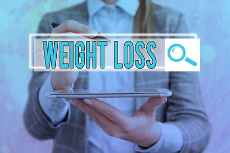 Text sign showing Weight Loss. Business photo showcasing a reduction of the total body mass due to a mean loss of fluid Web search digital information futuristic technology network connection
