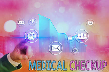 Word writing text Medical Checkup. Business photo showcasing the examination carried out to determine the physical fitness Arrow symbol going upward denoting points showing significant achievement