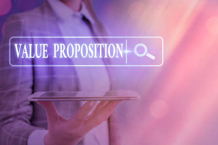 Text sign showing Value Proposition. Business photo text feature intended to make a company or product attractive Web search digital information futuristic technology network connection