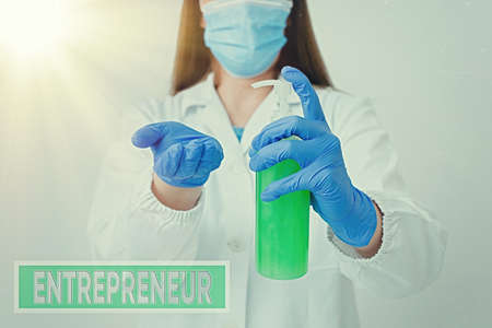 Handwriting text Entrepreneur. Conceptual photo one who organizes and assumes the risks of a business Laboratory blood test sample shown for medical diagnostic analysis result