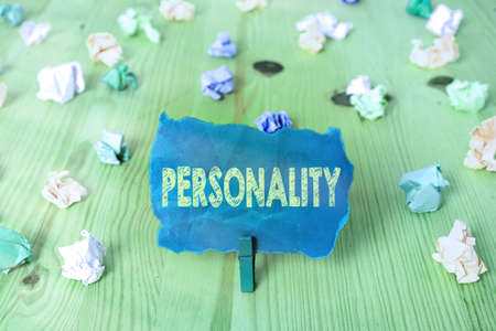 Word writing text Personality. Business photo showcasing the condition or fact of relating to a particular an individual Colored crumpled rectangle shaped reminder paper light blue background