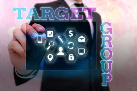 Writing note showing Target Group. Business concept for Particular showing that an advertisement intended to reach to Information digital technology network infographic elements Stockfoto