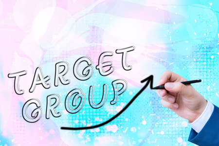 Text sign showing Target Group. Business photo showcasing Particular showing that an advertisement intended to reach to digital arrowhead curve rising upward denoting growth development concept