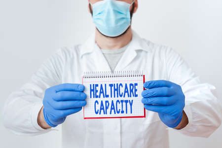 Handwriting text Healthcare Capacity. Conceptual photo maximum amount of patients provided with the right medical service Laboratory Technician Featuring Empty Sticker Paper Accessories Smartphone