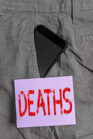 Word writing text Deaths. Business photo showcasing permanent cessation of all vital signs, instance of dying individual Smartphone device inside formal work trousers front pocket near note paper
