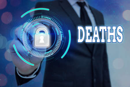 Writing note showing Deaths. Business concept for permanent cessation of all vital signs, instance of dying individual Graphics padlock for web data information security application system