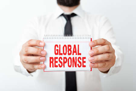 Word writing text Global Response. Business photo showcasing indicates the behaviour of material away from impact point Model displaying different empty color notepad mock-up for writing idea