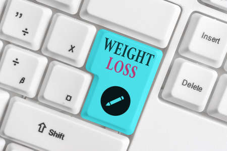 Text sign showing Weight Loss. Business photo text a reduction of the total body mass due to a mean loss of fluid Different colored keyboard key with accessories arranged on empty copy space 版權商用圖片