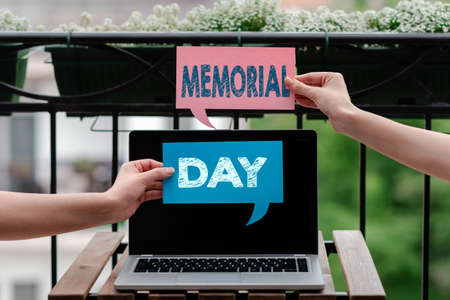 Writing note showing Memorial Day. Business concept for To honor and remembering those who died in military service Empty bubble chat sticker mock up emphasizing personal idea