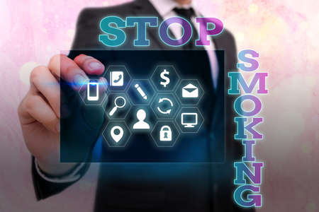 Writing note showing Stop Smoking. Business concept for Discontinuing or stopping the use of tobacco addiction Information digital technology network infographic elements