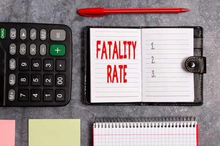 Word writing text Fatality Rate. Business photo showcasing calculated number of deaths over a specific range of period Paper accesories with digital smartphone arranged on different background 版權商用圖片