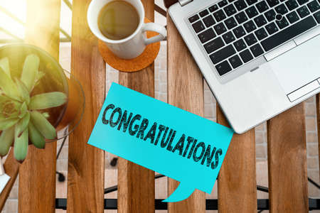 Word writing text Congratulations. Business photo showcasing a congratulatory expression usually used in plural form Paper accesories with digital smartphone arranged on different background