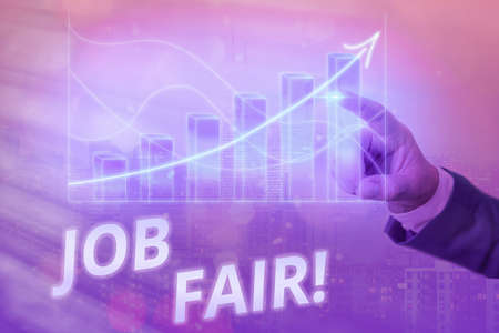 Writing note showing Job Fair. Business concept for event where employers offer information about their companies Arrow symbol going upward showing significant achievement Foto de archivo
