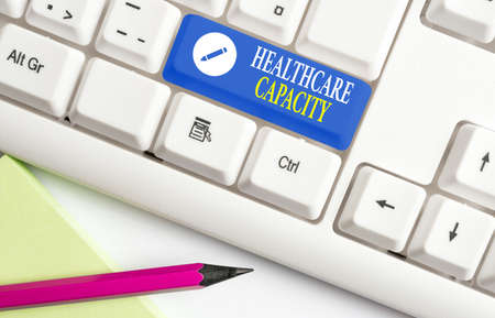 Conceptual hand writing showing Healthcare Capacity. Concept meaning maximum amount of patients provided with the right medical service Colored keyboard key with accessories arranged on empty copy space