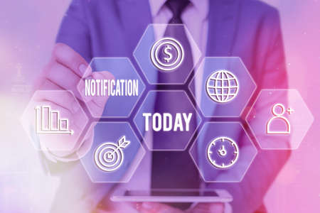 Conceptual hand writing showing Notification. Concept meaning act or instance of notifying, written matter that gives notice Grids and different icons latest digital technology concept