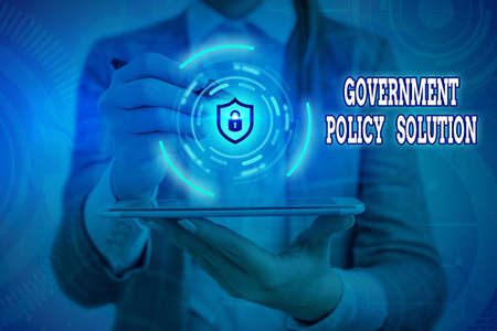 Conceptual hand writing showing Government Policy Solution. Concept meaning designed game plan created in response to emergency disaster Graphics padlock for web data security application system Stok Fotoğraf