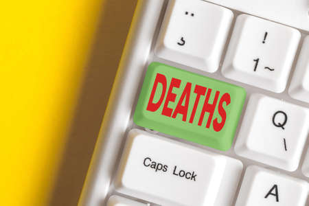 Writing note showing Deaths. Business concept for permanent cessation of all vital signs, instance of dying individual Colored keyboard key with accessories arranged on empty copy space