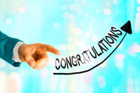 Writing note showing Congratulations. Business concept for a congratulatory expression usually used in plural form Digital arrowhead curve denoting growth development concept