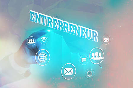 Writing note showing Entrepreneur. Business concept for one who organizes and assumes the risks of a business Arrow symbol going upward showing significant achievement