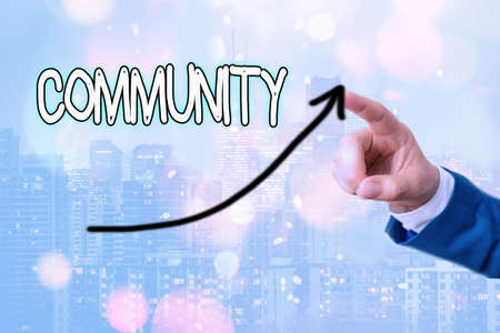 Text sign showing Community. Business photo showcasing group of showing with a common characteristics living together digital arrowhead curve rising upward denoting growth development concept