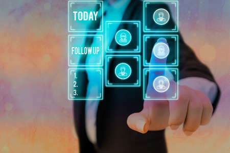 Text sign showing Follow Up. Business photo showcasing a continuation of something that has already been started Grids and different set up of the icons latest digital technology concept