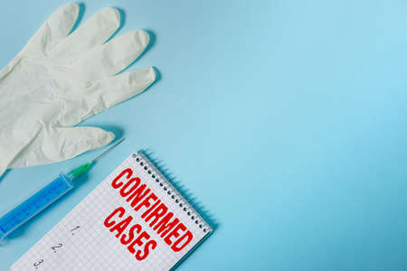 Handwriting text writing Confirmed Cases. Conceptual photo set of circumstances or conditions requiring action Set of medical equipment with notepad for health condition assessment