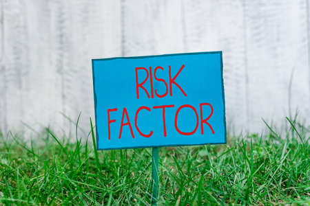 Conceptual hand writing showing Risk Factor. Concept meaning Characteristic that may increase the percentage of acquiring a disease Plain paper attached to stick and placed in the grassy land 免版税图像