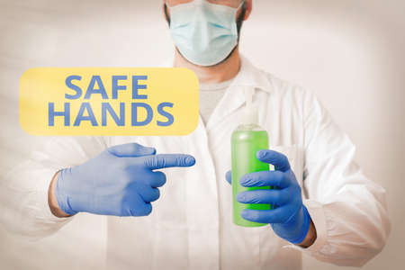 Writing note showing Safe Hands. Business concept for Ensuring the sterility and cleanliness of the hands for decontamination Laboratory Blood Test Sample Shown For Medical Diagnostic