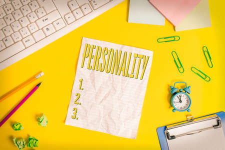 Writing note showing Personality. Business concept for the condition or fact of relating to a particular an individual Flat lay above copy space on the white crumpled paper