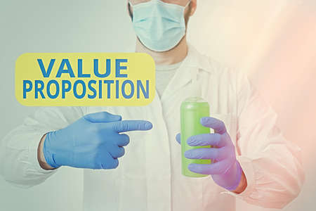 Writing note showing Value Proposition. Business concept for feature intended to make a company or product attractive Laboratory Blood Test Sample Shown For Medical Diagnostic