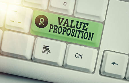 Text sign showing Value Proposition. Business photo text feature intended to make a company or product attractive Different colored keyboard key with accessories arranged on empty copy space
