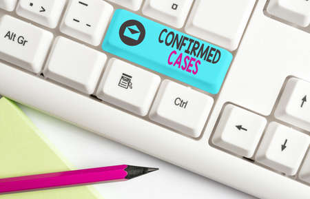 Handwriting text Confirmed Cases. Conceptual photo set of circumstances or conditions requiring action Different colored keyboard key with accessories arranged on empty copy space
