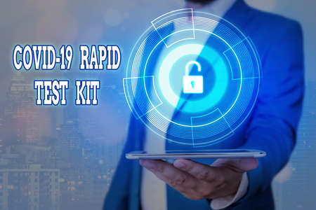 Handwriting text Rapid Test Kit. Conceptual photo Emergency medical diagnostic equipment that deliver fast results Graphics padlock for web data information security application system