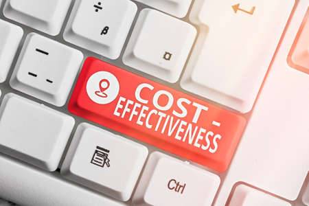 Text sign showing Cost Effectiveness. Business photo showcasing degree to which something is effective in relation to its cost. Different colored keyboard key with accessories arranged on empty copy space