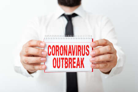 Word writing text Coronavirus Outbreak. Business photo showcasing infectious disease caused by newly discovered COVID19 Model displaying different empty color notepad mock-up for writing idea Reklamní fotografie