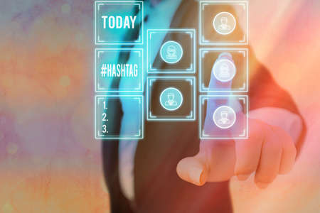 Text sign showing Hashtag . Business photo showcasing word preceded by a hash sign hashtag on social media websites Grids and different set up of the icons latest digital technology concept