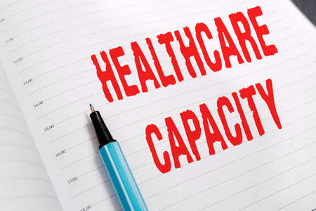Word writing text Healthcare Capacity. Business photo showcasing maximum amount of patients provided with the right medical service Paper accesories with digital smartphone arranged on different background