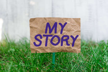Word writing text My Story. Business photo showcasing the things or situations that have happened to someone in life Crumpled paper attached to a stick and placed in the green grassy land