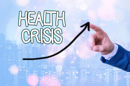 Text sign showing Health Crisis. Business photo showcasing fitness problem that affects in more geographic areas digital arrowhead curve rising upward denoting growth development concept 免版税图像