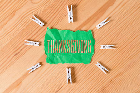 Text sign showing Thanksgiving. Business photo text public acknowledgment or celebration of divine goodness Colored clothespin papers empty reminder wooden floor background office