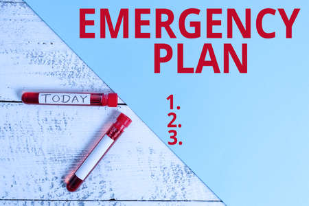 Word writing text Emergency Plan. Business photo showcasing procedures for handling sudden or unexpected situations Extracted blood sample vial with medical accessories ready for examination